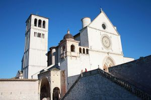 The Upper And Lower Sections Of  The Saint Francis Cathedral Of Assisi   Basilica Superiore Ed Inferiore Di San. Francesco Di Assisi